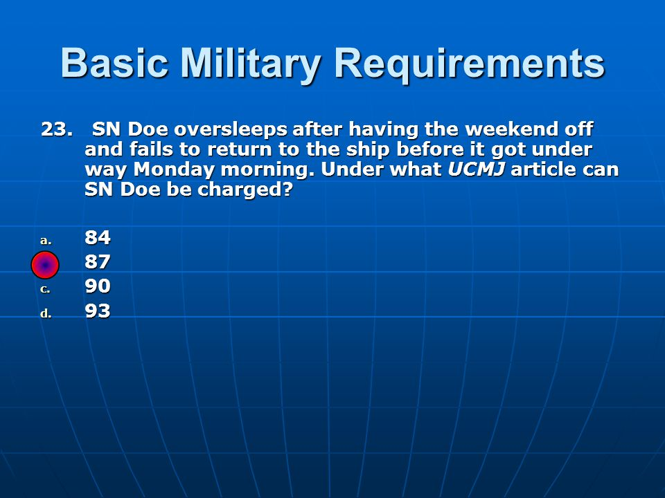 Basic Military Requirements 23.