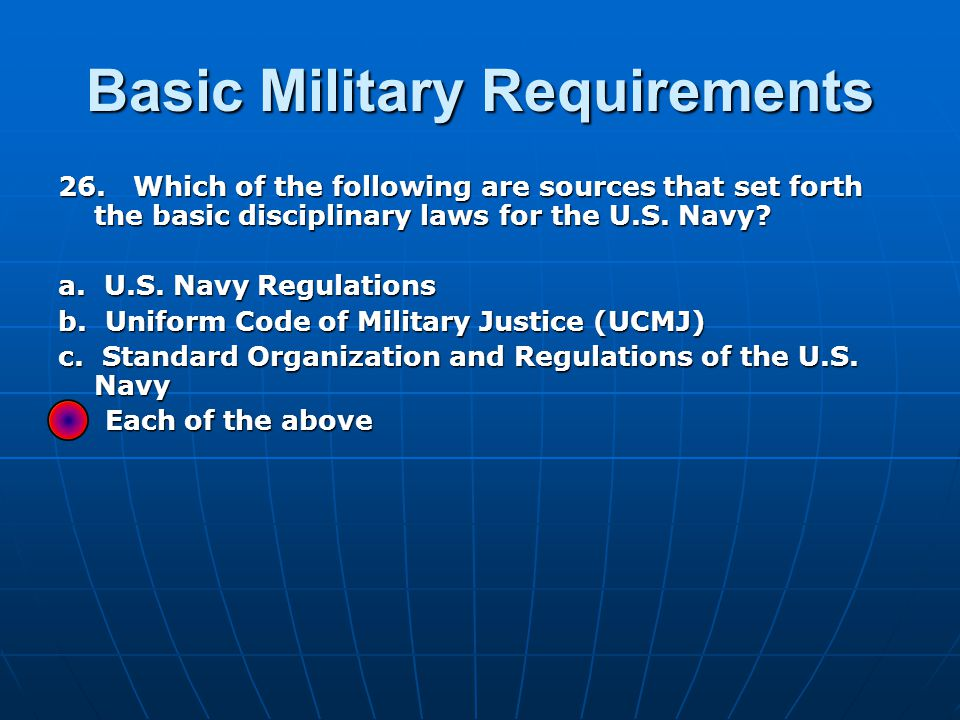 Basic Military Requirements 26.