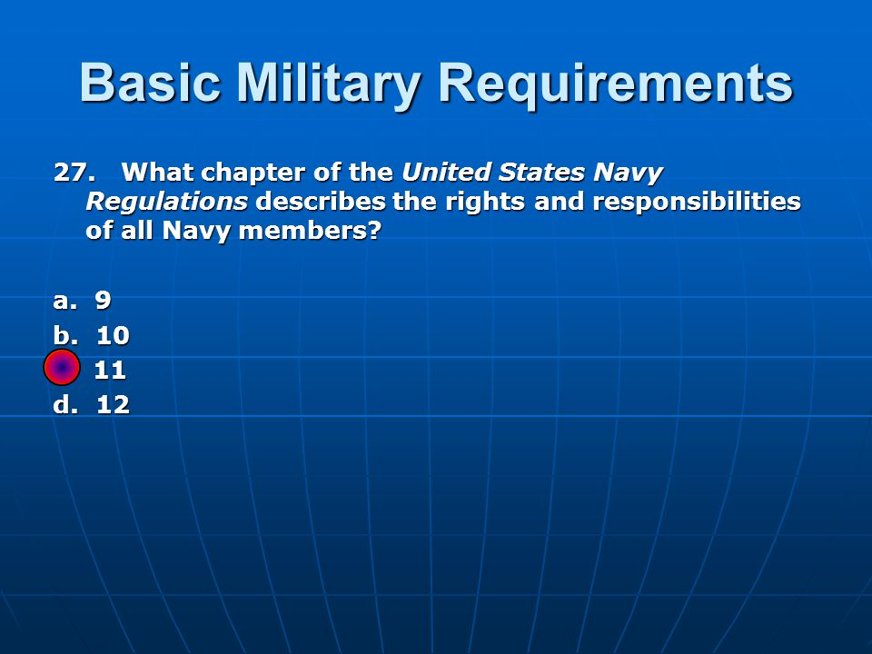 Basic Military Requirements 27.