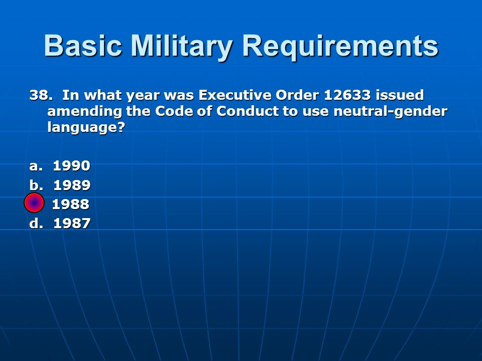 Basic Military Requirements 38.