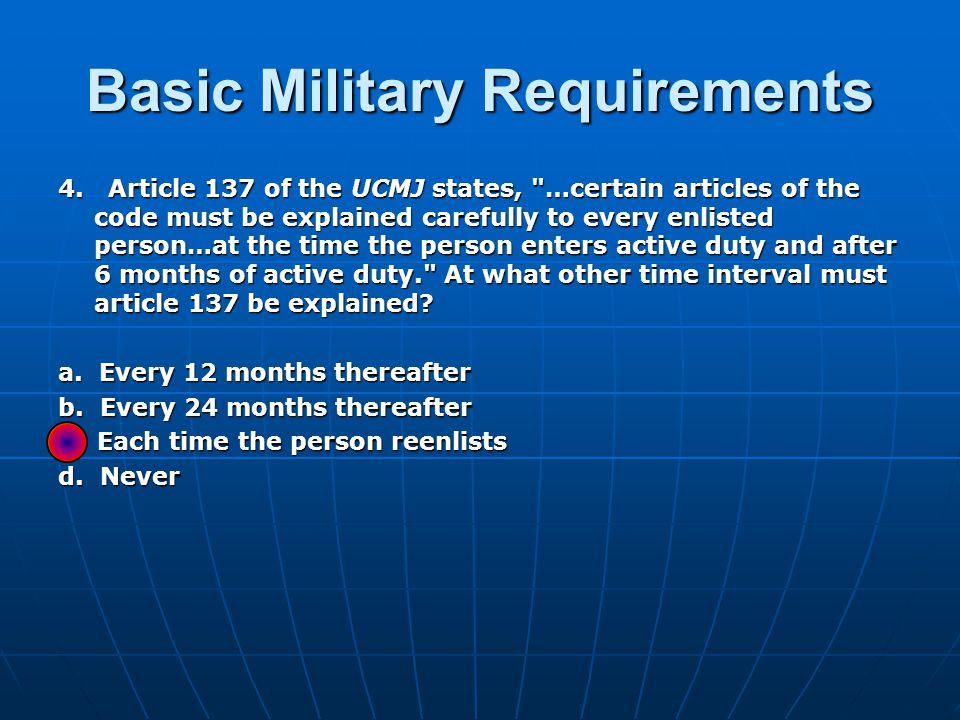 Basic Military Requirements 4.