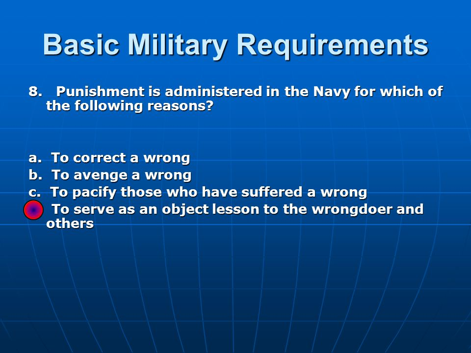Basic Military Requirements 39.