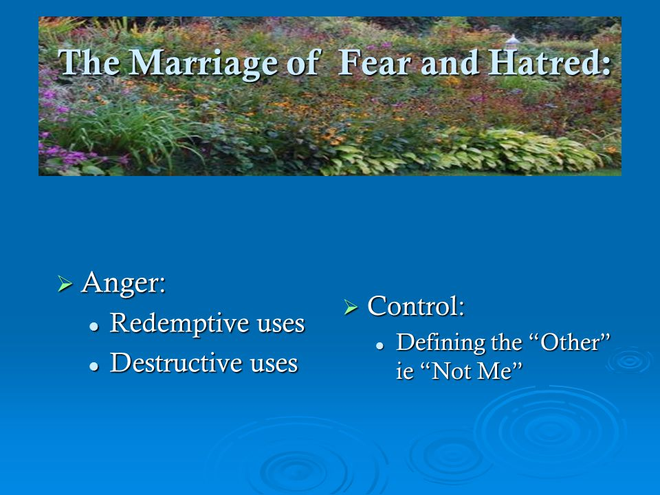 The Marriage of Fear and Hatred: The Marriage of Fear and Hatred:  Anger: Redemptive uses Redemptive uses Destructive uses Destructive uses  Control: Defining the Other ie Not Me