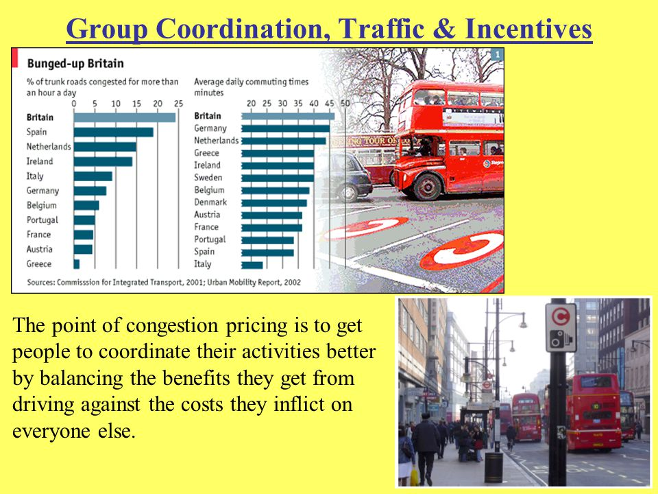 Group Coordination, Traffic & Incentives The point of congestion pricing is to get people to coordinate their activities better by balancing the benefits they get from driving against the costs they inflict on everyone else.