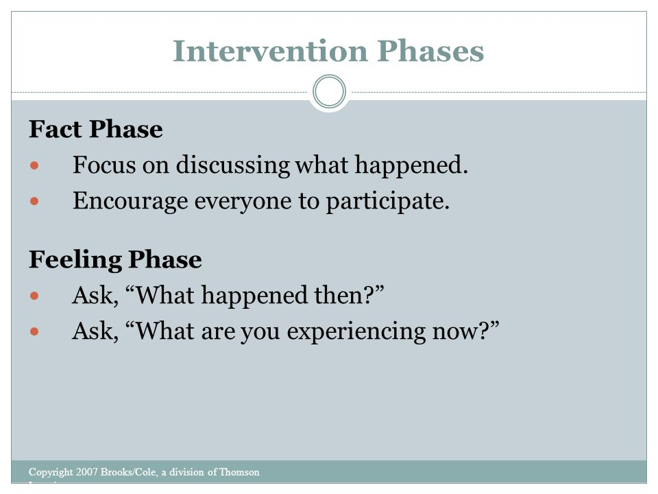 Intervention Phases Copyright 2007 Brooks/Cole, a division of Thomson Learning Fact Phase Focus on discussing what happened.