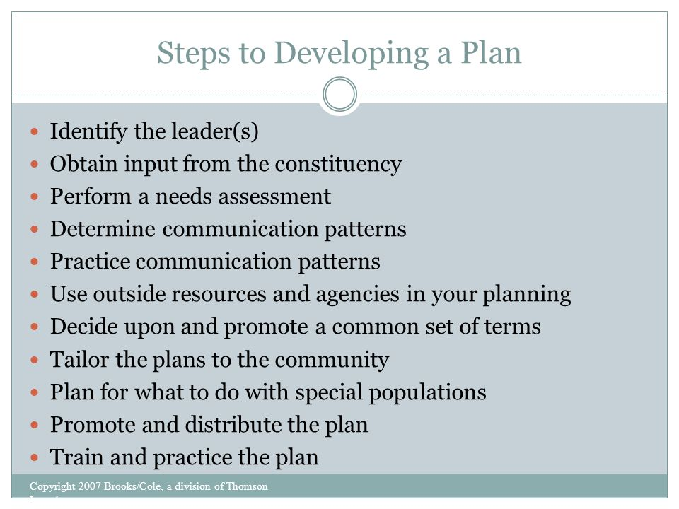 Steps to Developing a Plan Identify the leader(s) Obtain input from the constituency Perform a needs assessment Determine communication patterns Practice communication patterns Use outside resources and agencies in your planning Decide upon and promote a common set of terms Tailor the plans to the community Plan for what to do with special populations Promote and distribute the plan Train and practice the plan Copyright 2007 Brooks/Cole, a division of Thomson Learning