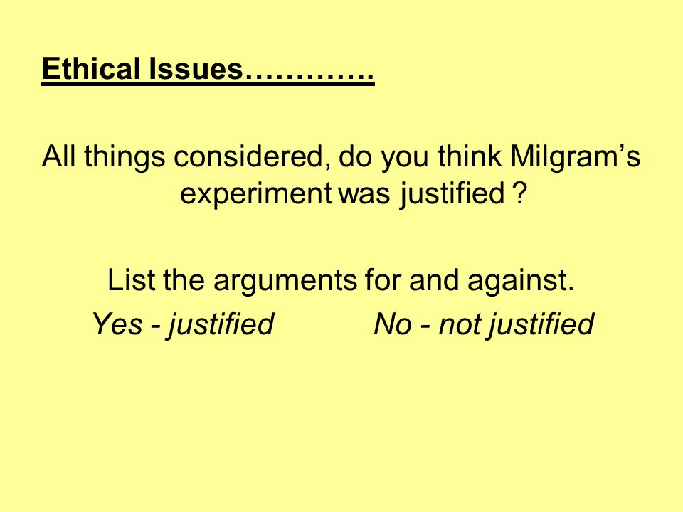 Ethical Issues………….All things considered, do you think Milgram's experiment was justified .