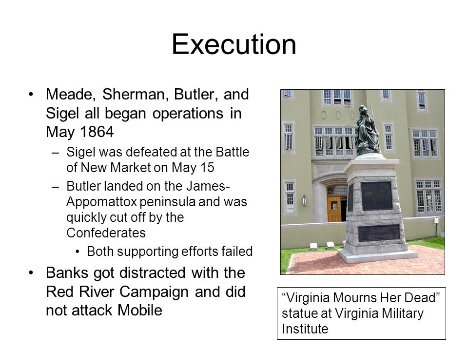 Execution Meade, Sherman, Butler, and Sigel all began operations in May 1864 –Sigel was defeated at the Battle of New Market on May 15 –Butler landed