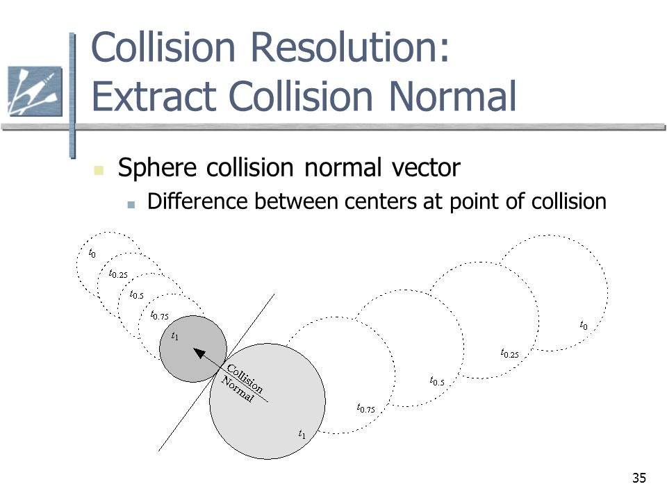 35 Collision Resolution: Extract Collision Normal Sphere collision normal vector Difference between centers at point of collision