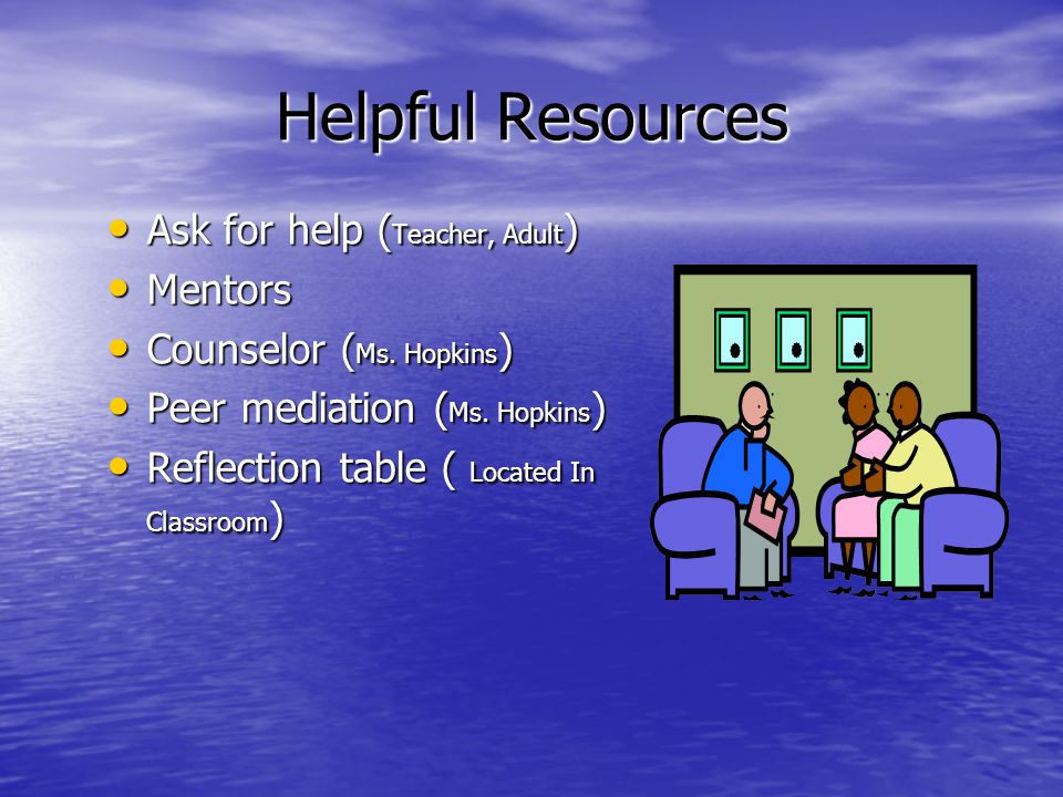 Helpful Resources Ask for help ( Teacher, Adult ) Ask for help ( Teacher, Adult ) Mentors Mentors Counselor ( Ms.