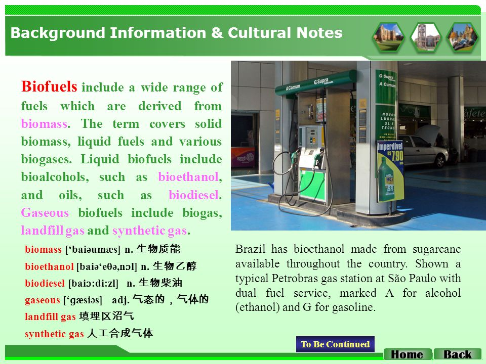 Background Information & Cultural Notes Back Home Biofuels include a wide range of fuels which are derived from biomass.