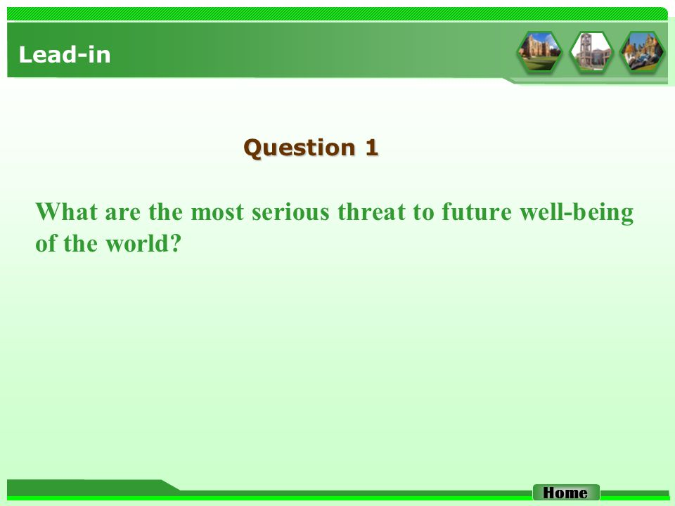 Lead-in What are the most serious threat to future well-being of the world? Home Question 1