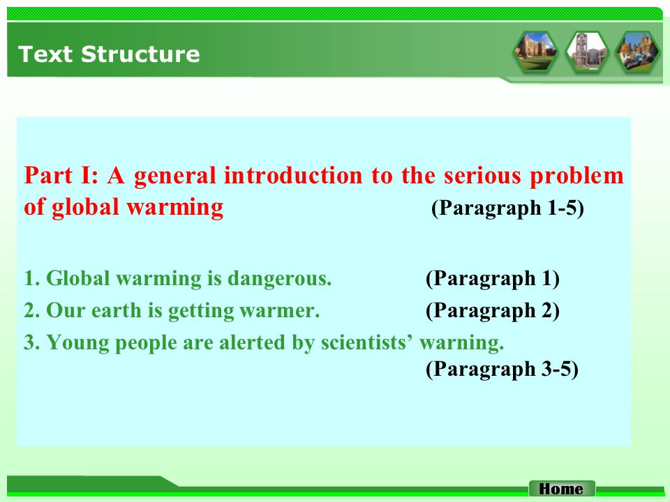 Text Structure Part I: A general introduction to the serious problem of global warming (Paragraph 1-5) 1.