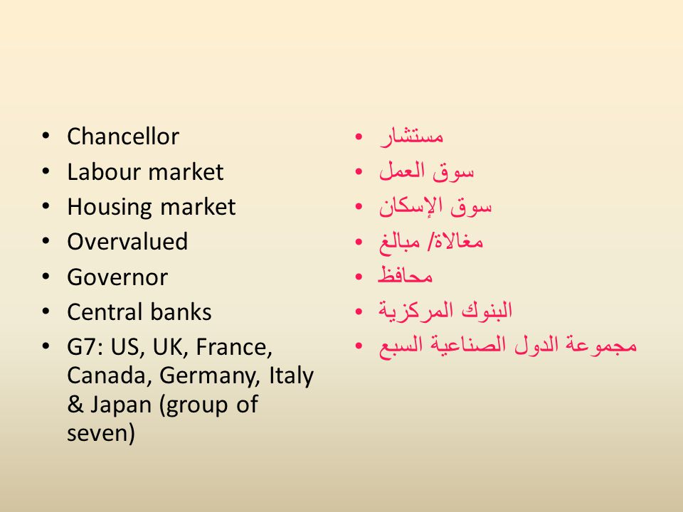 Chancellor Labour market Housing market Overvalued Governor Central banks G7: US, UK, France, Canada, Germany, Italy & Japan (group of seven) مستشار س
