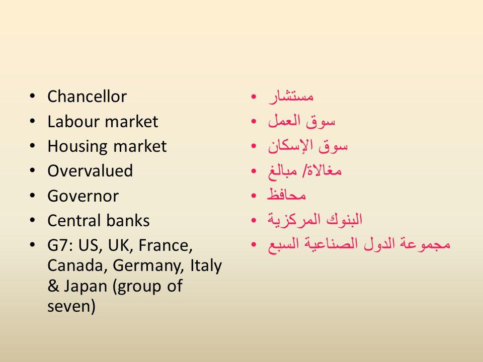 Chancellor Labour market Housing market Overvalued Governor Central banks G7: US, UK, France, Canada, Germany, Italy & Japan (group of seven) مستشار سوق العمل سوق الإسكان مغالاة / مبالغ محافظ البنوك المركزية مجموعة الدول الصناعية السبع
