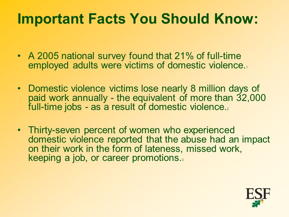 Important Facts You Should Know: A 2005 national survey found that 21% of full-time employed adults were victims of domestic violence. 1 Domestic viol