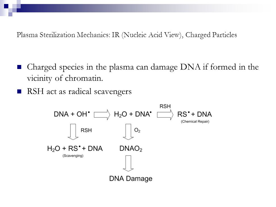 Plasma Sterilization Mechanics: IR (Nucleic Acid View), Charged Particles Charged species in the plasma can damage DNA if formed in the vicinity of chromatin.