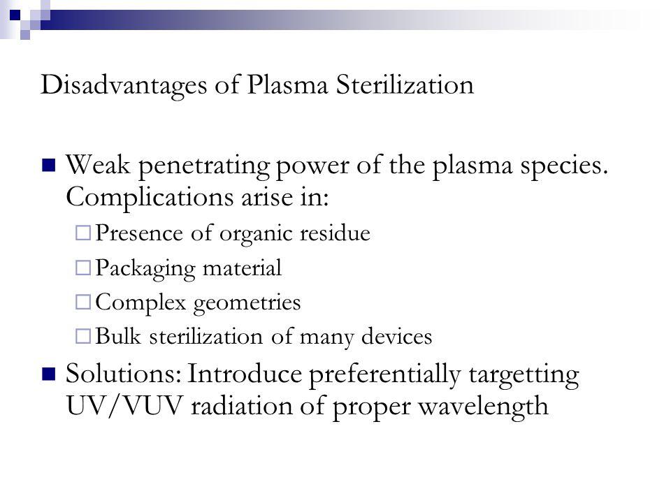 Disadvantages of Plasma Sterilization Weak penetrating power of the plasma species.