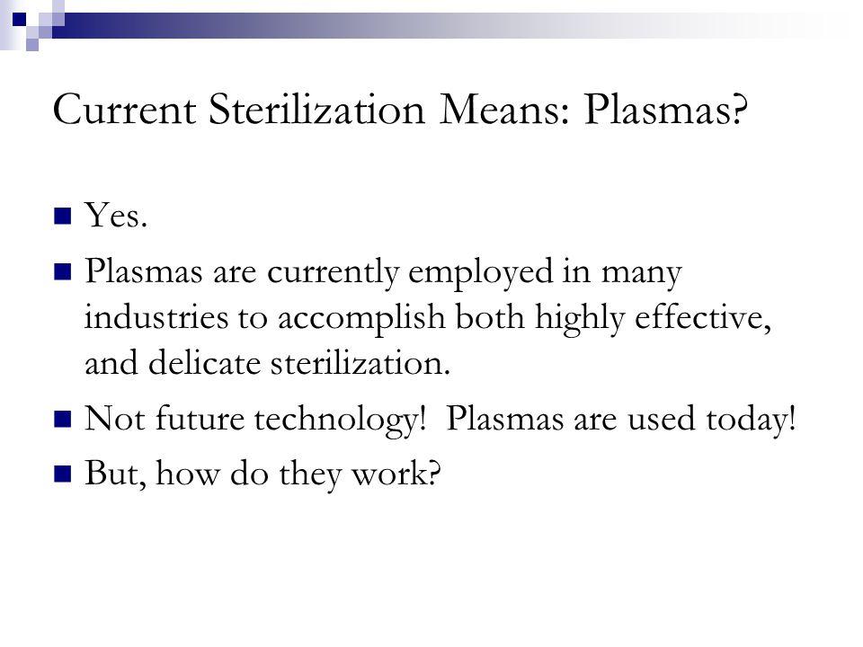 Current Sterilization Means: Plasmas. Yes.