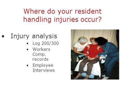 Where do your resident handling injuries occur? Injury analysis Log 200/300 Workers Comp. records Employee Interviews
