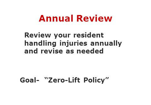 "Annual Review Review your resident handling injuries annually and revise as needed Goal- ""Zero-Lift Policy"""
