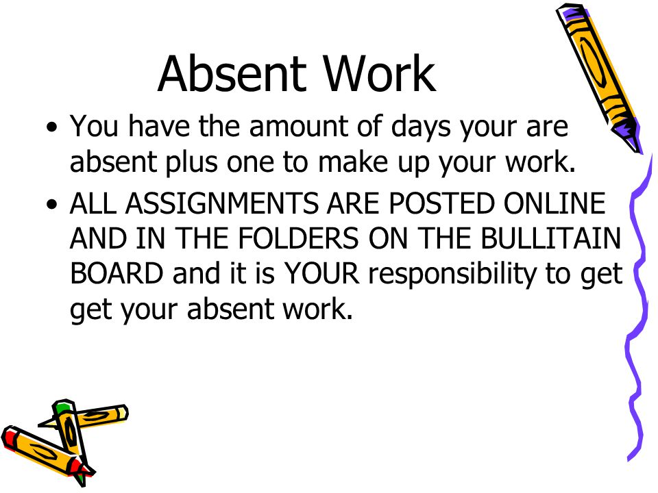 Absent Work You have the amount of days your are absent plus one to make up your work.