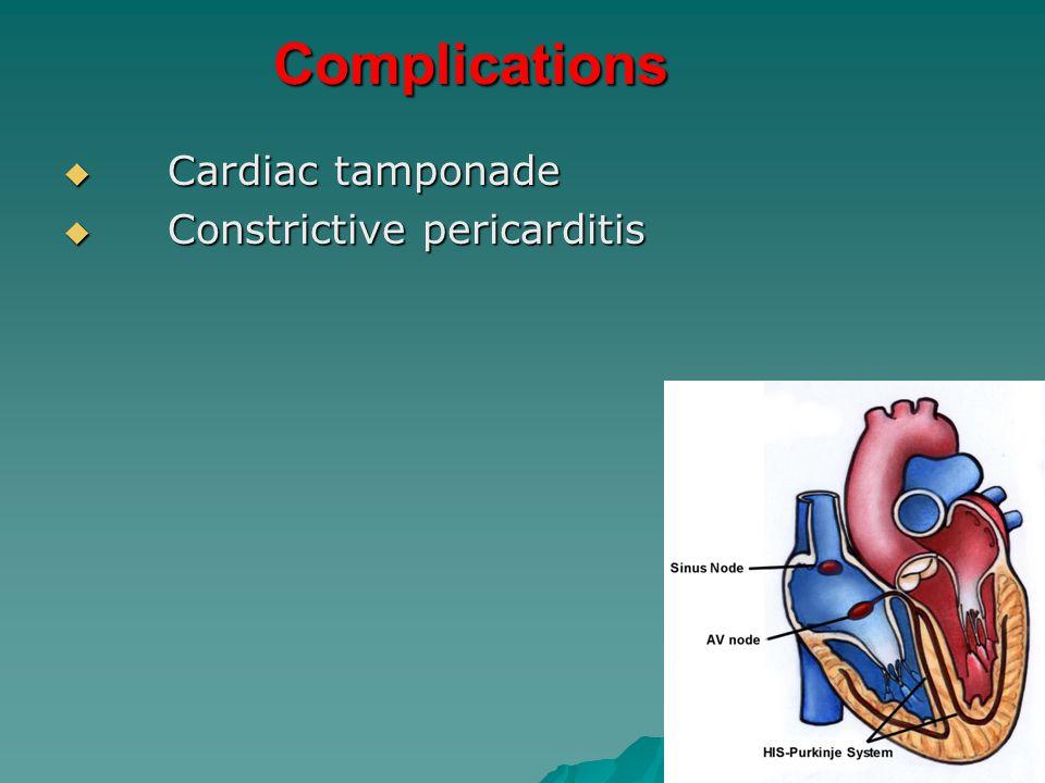 Complications  Cardiac tamponade  Constrictive pericarditis