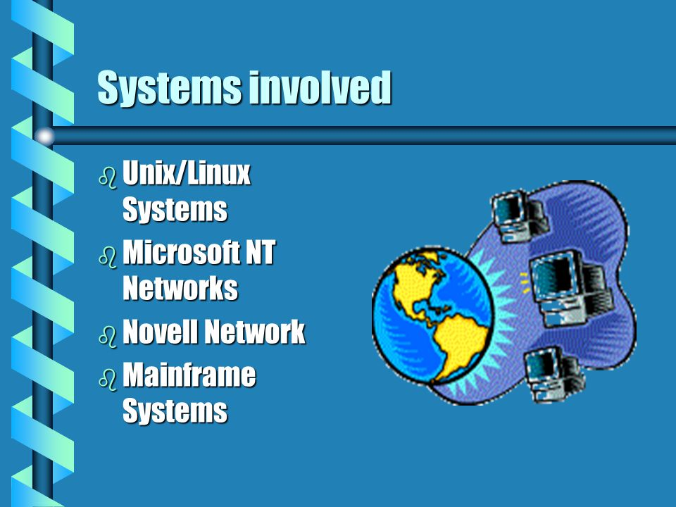 Systems involved b Unix/Linux Systems b Microsoft NT Networks b Novell Network b Mainframe Systems