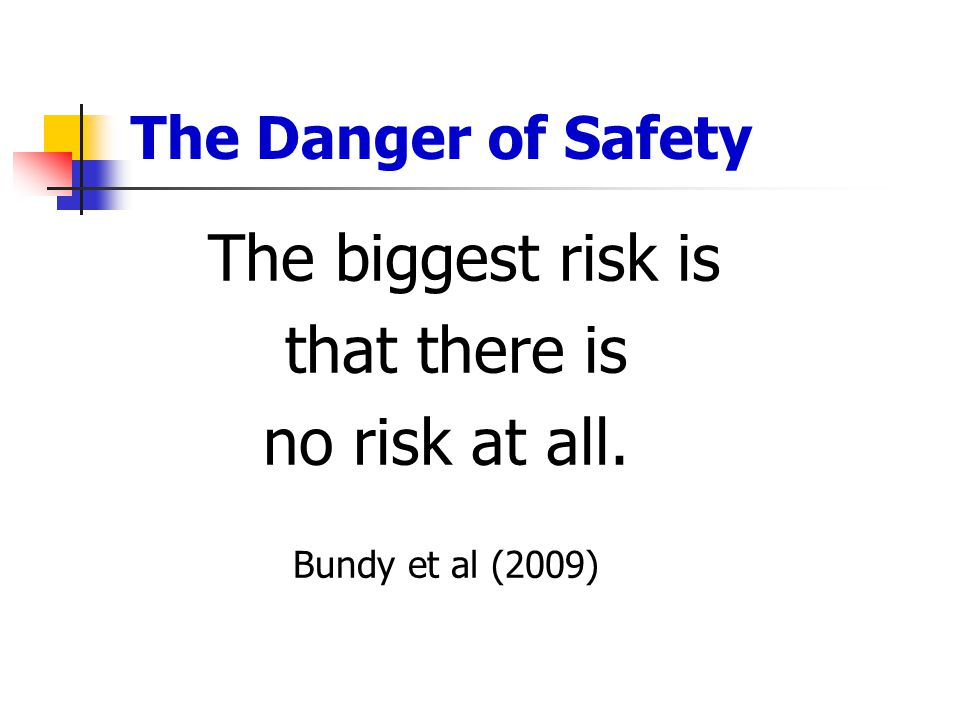The Danger of Safety The biggest risk is that there is no risk at all. Bundy et al (2009)