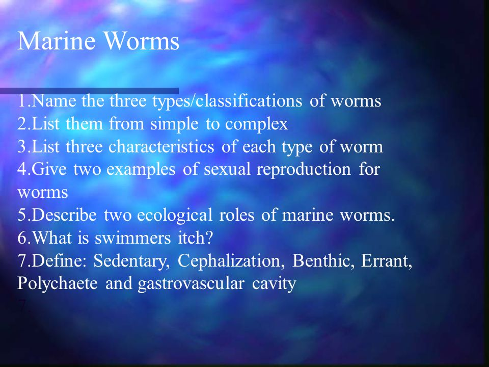 Marine Worms 1.Name the three types/classifications of worms 2.List them from simple to complex 3.List three characteristics of each type of worm 4.Give two examples of sexual reproduction for worms 5.Describe two ecological roles of marine worms.
