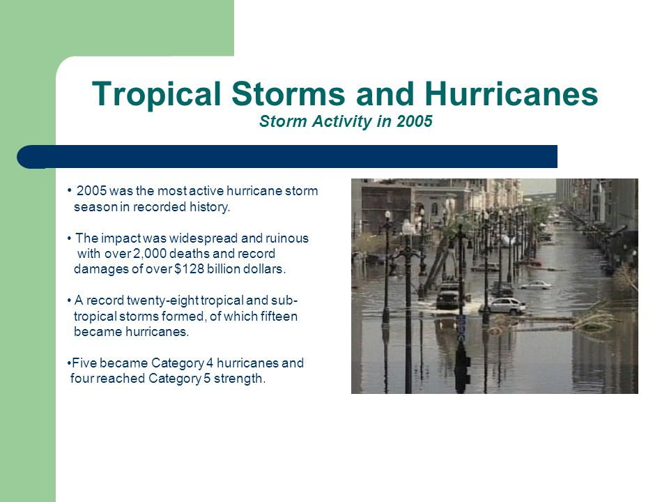 Tropical Storms and Hurricanes Storm Activity in 2005 2005 was the most active hurricane storm season in recorded history.