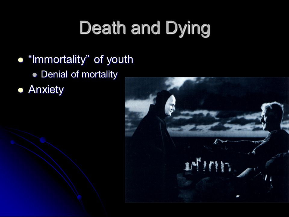 """Immortality"" of youth ""Immortality"" of youth Denial of mortality Denial of mortality Anxiety Anxiety"