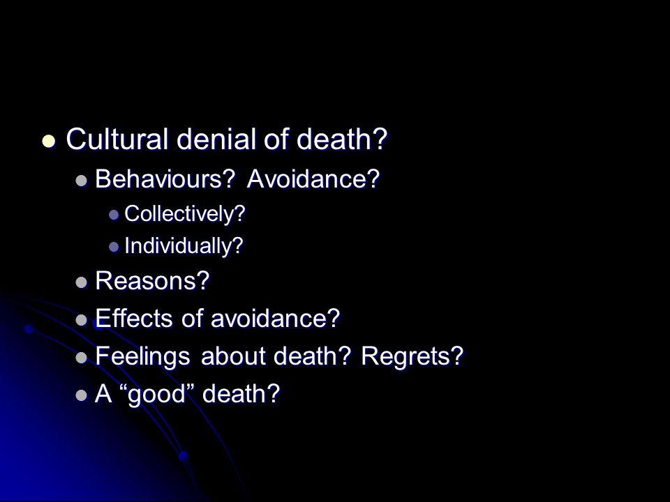Cultural denial of death? Cultural denial of death? Behaviours? Avoidance? Behaviours? Avoidance? Collectively? Collectively? Individually? Individual