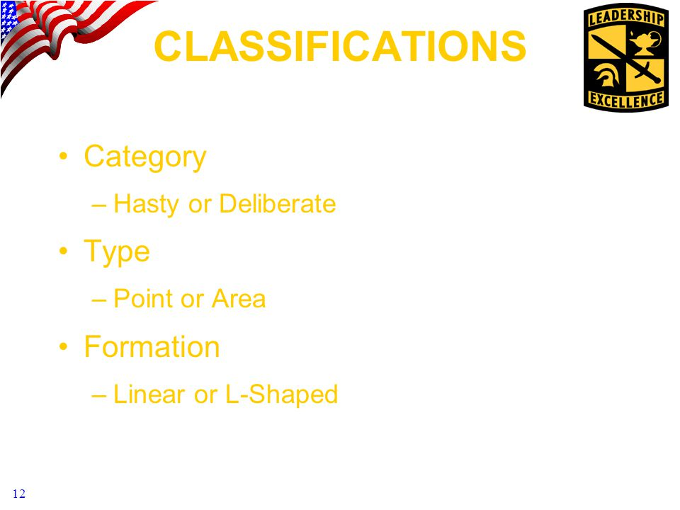 12 CLASSIFICATIONS Category –Hasty or Deliberate Type –Point or Area Formation –Linear or L-Shaped