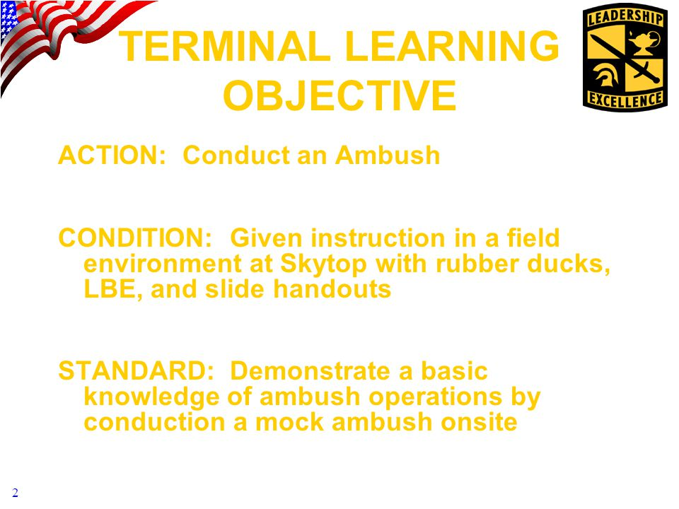 2 TERMINAL LEARNING OBJECTIVE ACTION: Conduct an Ambush CONDITION: Given instruction in a field environment at Skytop with rubber ducks, LBE, and slide handouts STANDARD: Demonstrate a basic knowledge of ambush operations by conduction a mock ambush onsite