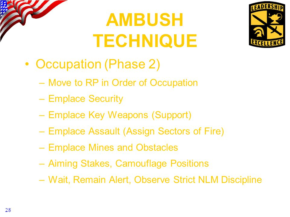 28 AMBUSH TECHNIQUE Occupation (Phase 2) –Move to RP in Order of Occupation –Emplace Security –Emplace Key Weapons (Support) –Emplace Assault (Assign Sectors of Fire) –Emplace Mines and Obstacles –Aiming Stakes, Camouflage Positions –Wait, Remain Alert, Observe Strict NLM Discipline