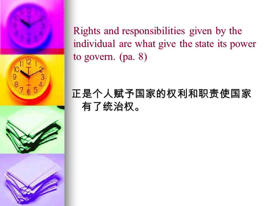 Rights and responsibilities given by the individual are what give the state its power to govern.