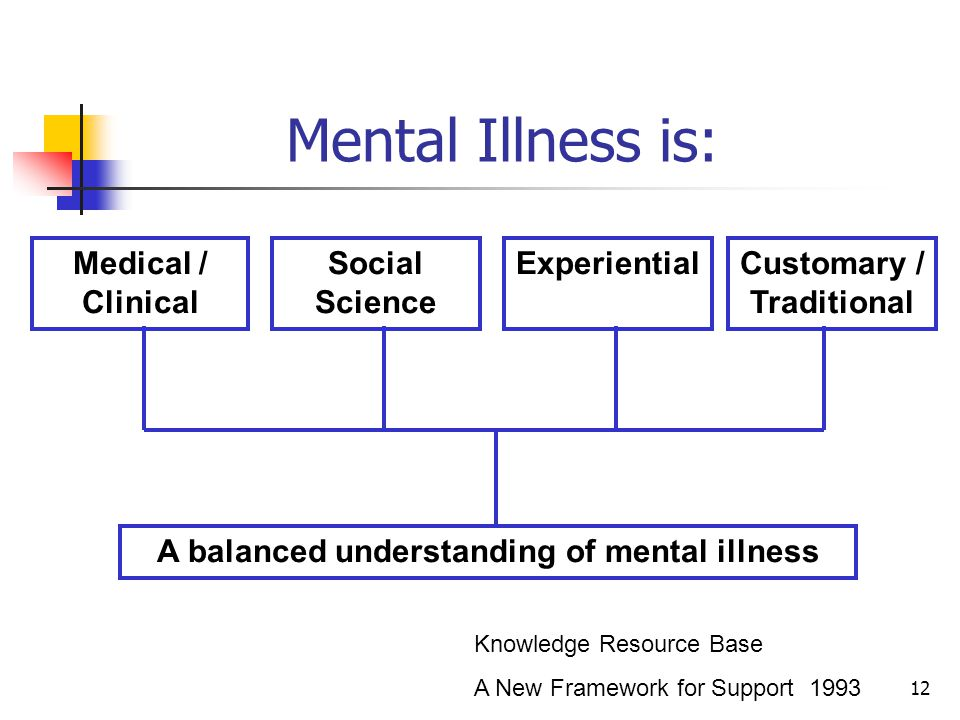 12 Medical / Clinical Social Science ExperientialCustomary / Traditional A balanced understanding of mental illness Knowledge Resource Base A New Framework for Support 1993 Mental Illness is: