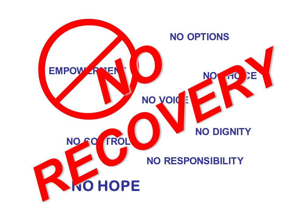 EMPOWERMENT NO OPTIONS NO CHOICE NO VOICE NO CONTROL NO DIGNITY NO RESPONSIBILITY NO HOPE NO RECOVERY