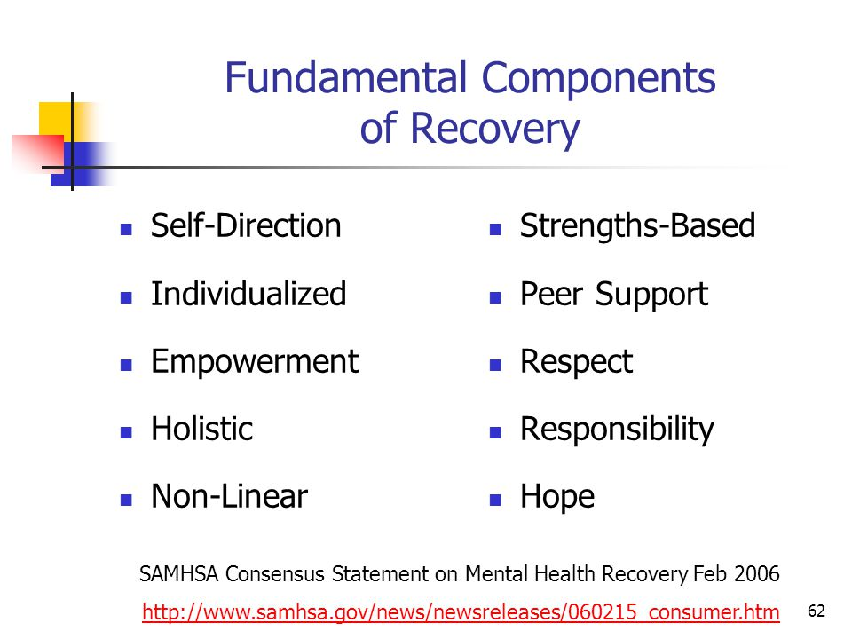 62 Fundamental Components of Recovery Self-Direction Individualized Empowerment Holistic Non-Linear Strengths-Based Peer Support Respect Responsibility Hope SAMHSA Consensus Statement on Mental Health Recovery Feb 2006 http://www.samhsa.gov/news/newsreleases/060215_consumer.htm