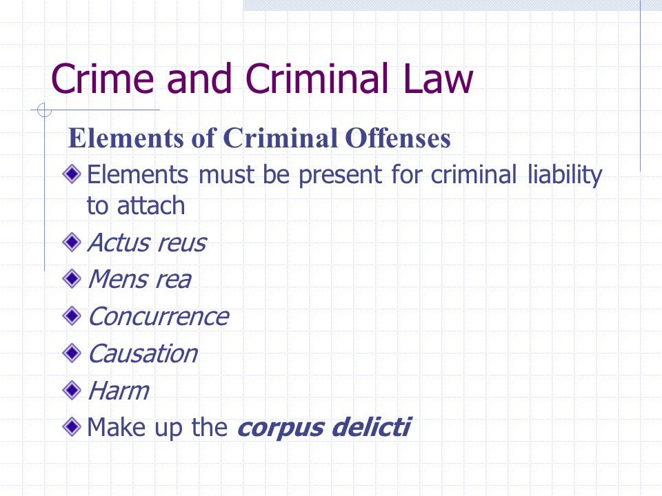 Crime and Criminal Law Elements must be present for criminal liability to attach Actus reus Mens rea Concurrence Causation Harm Make up the corpus del