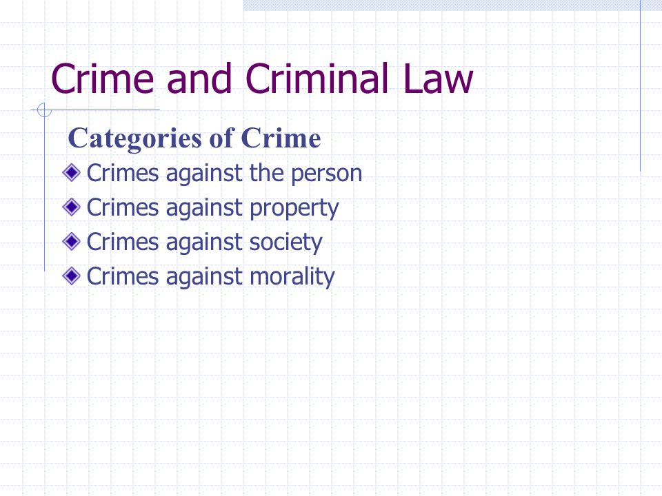 Crime and Criminal Law Crimes against the person Crimes against property Crimes against society Crimes against morality Categories of Crime