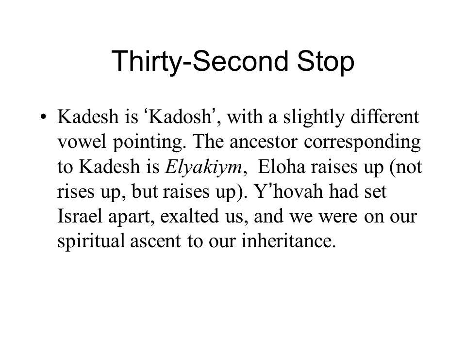 Thirty-Second Stop Kadesh is ' Kadosh ', with a slightly different vowel pointing. The ancestor corresponding to Kadesh is Elyakiym, Eloha raises up (