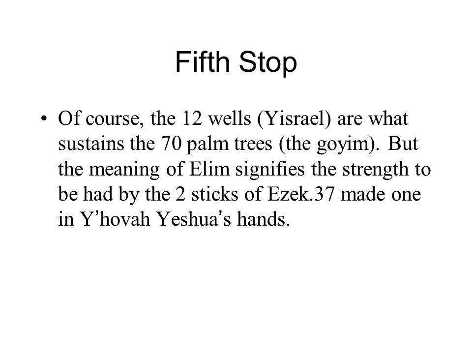 Fifth Stop Of course, the 12 wells (Yisrael) are what sustains the 70 palm trees (the goyim).
