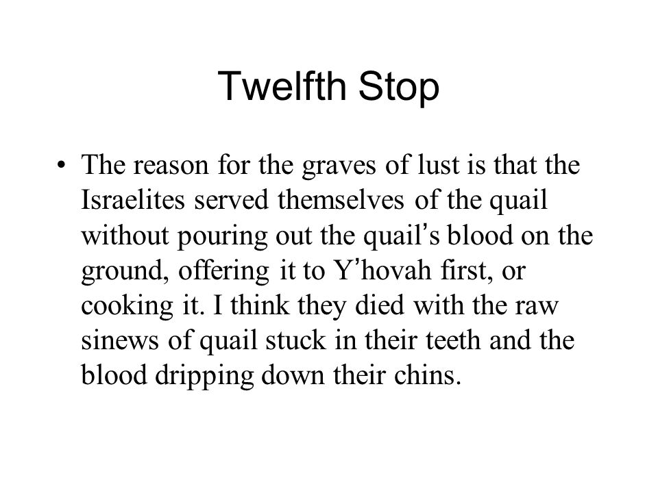 Twelfth Stop The reason for the graves of lust is that the Israelites served themselves of the quail without pouring out the quail ' s blood on the ground, offering it to Y ' hovah first, or cooking it.