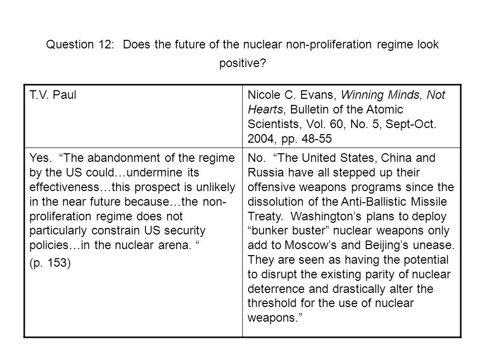 Question 12: Does the future of the nuclear non-proliferation regime look positive.