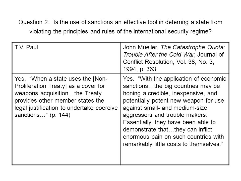 Question 2: Is the use of sanctions an effective tool in deterring a state from violating the principles and rules of the international security regime.