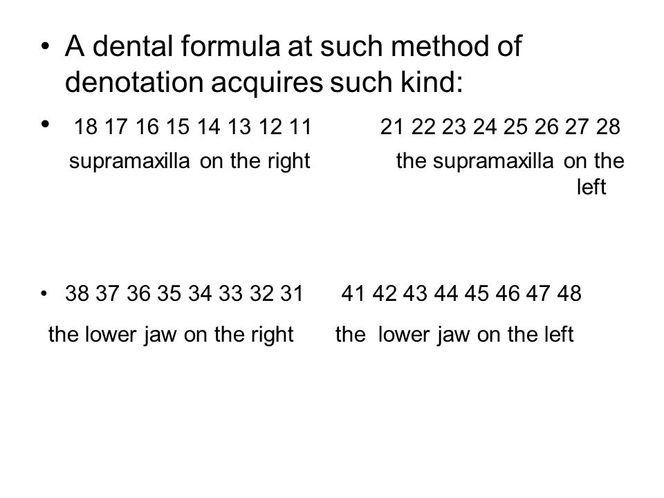 A dental formula at such method of denotation acquires such kind: 18 17 16 15 14 13 12 11 21 22 23 24 25 26 27 28 supramaxilla on the right the supramaxilla on the left 38 37 36 35 34 33 32 31 41 42 43 44 45 46 47 48 the lower jaw on the right the lower jaw on the left