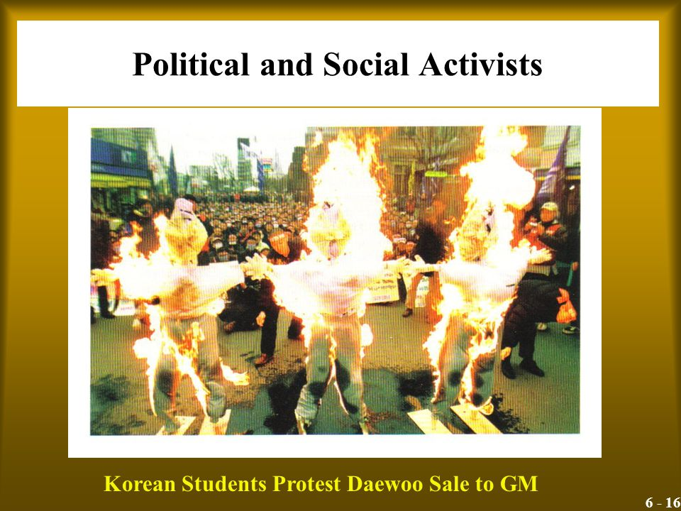 6 - 16 Political and Social Activists Korean Students Protest Daewoo Sale to GM