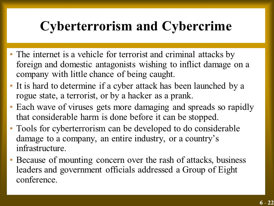 6 - 22 Cyberterrorism and Cybercrime The internet is a vehicle for terrorist and criminal attacks by foreign and domestic antagonists wishing to infli
